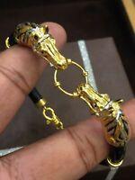 Vintage Lourd Unisexe Dubaï Fait Main Cheval Bracelet En 916 Solide 22K Or jaune