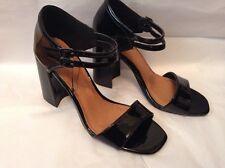 New🌹Next🌹size 4 bloque negro patente talón sandalias zapatos 37 UE tobillo