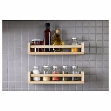 PINE SPICE RACK KITCHEN JAR STORAGE WALL MOUNTED WOODEN SHELF SOLID