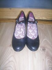 Unusual Heel Black Leather Mary Jane Shoes by Office size 38