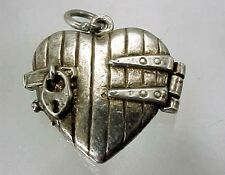 VINTAGE UK STERLING HEART PADLOCKED HEART OPENS UP TO REVEAL LOVERS  EMBRACING