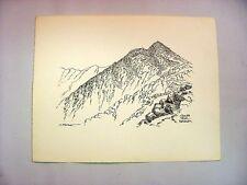 1930-40's C.Palmer India Ink Drawing Landscape South Peak, Katahdin, Maine