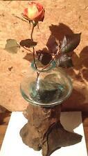 Wurzelholz Glas Vase -erhitzt + verschmolzen - mundgeblasen 30x16cm