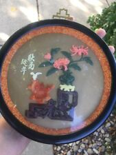 Vintage Chinese lmitation Jade Coral Wall Plaque Round Design