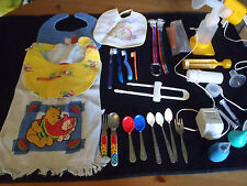 27 Baby Feeding Items, Bibs, Spoons, Medicine Dispensers, Toothbrushes Pacifier