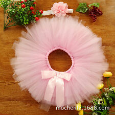 Baby Girls Headdress Flower+Tutu Clothes Skirt Photo Prop Costume Outfit New