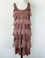 Garnet Hill Size Small Shift Dress Stretch Tiered Silk Ruffle Rust Casual Layer