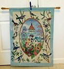 BEAUTIFUL LARGE BLUE tapestry wall hanging WOODEN POLE BIRDHOUSE GARDEN SP1114