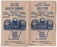 1948 SOUTH SHORE BOSTON New York new Haven Hartford Railroad Timetable MASS MA