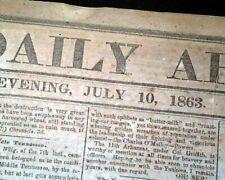 Rare Battle Of Gettysburg in a Confederate Atlanta Ga 1863 Civil War Newspaper