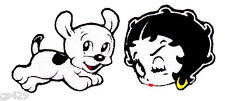 "1.5"" BETTY BOOP  FACE & PUDGE DOG  CHARACTER FABRIC APPLIQUE IRON ON"