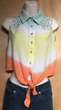 Love Culture Rainbow Shirt Small Rhinestone Button Down Sleeveless Tie Front Top