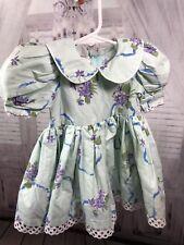 Daisy Kingdom Baby Girls Dress Peter Pan Collar Eyelet Floral Blue Sz 18 Months