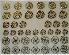 3D Nail Art Decals Transfer Stickers Silver Coloured Roses (3D6027)