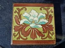 Antiker *Jugendstil* Untersetzer aus Hartholz mit Fliese oder Kachel