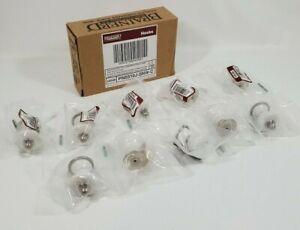 10 Pc Brainerd Coat & Robe Hook White Ceramic Brushed Nickel 54548 Knobs Pulls