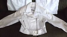 Vintage WOMENS White Leather Motorcycle Jacket by CHIA