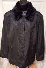 Giacca Woman's Black w/ Faux Fur Removable Collar Jacket Size L