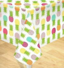 Colorful Fruit Tropical Pineapple Vinyl Summer Tablecloth  - 60in. Round