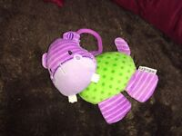 LE JOUJOU HIPPO RATTLE WITH CLASP SOFT TOY PLUSH VGCC PRAM BUGGY COT TOY