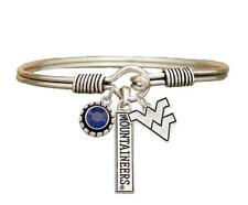 West Virginia Mountaineers 3 Charm Blue Crystal Silver Wire Bracelet Jewelry WVU