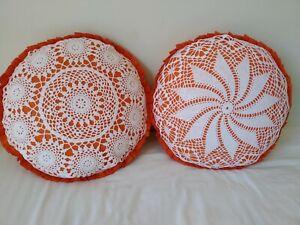 "2 Unique Handmade Orange & White round cushions 16"""