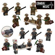 8x WW2 Military Army medic Soldiers + Stretcher etc Medical Blocks Fit Lego