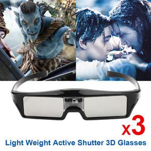 3x Active Shutter 3D-Brille Für All DLP Beamer Optoma BenQ Dell Wiederaufladbar