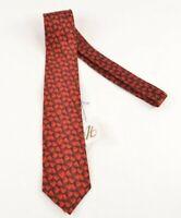 Italo Ferretti NWT Silk Neck Tie In Black & Red Abstract Floral $188