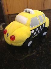 Yellow taxi car light up makes sound plush stuffed animal RARE