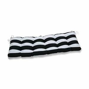 """Pillow Perfect Outdoor/Indoor Cabana Stripe Tufted Bench/Swing Cushion 56"""" x ..."""
