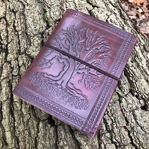 HAND MADE LEATHER JOURNAL TREE OF LIFE BLANK NOTEBOOK BOOK SKETCH PAD GIFT