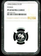 China 1990 Platinum 10 Yuan Panda PF69 Ultra Cameo NGC 2801992-016