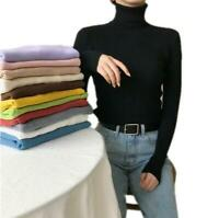12Colors Ladies Women Turtleneck Slim Pullover Winter Long Sleeve Sweater Tops B