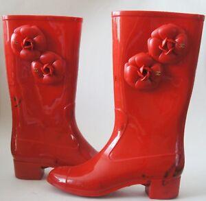 CHANEL Red Rubber CC Logo Camellia Rain Boots Size 38