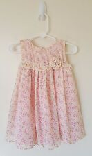 Girl's Pink Yellow Floral Party Dress & Matching Bloomers 18-24 Months Old Navy