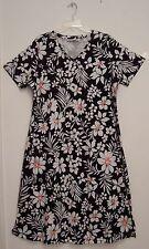 Denim & Co. 100% COTTON Knit V-Neck Black & White Floral Print Dress 1X