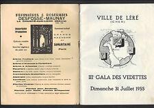 LERE (18) III° GALA DES VEDETTES / ARTISTES en TOURNEE Programme & LYRE en 1955