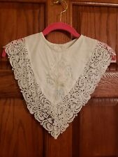 """Embroidered PELERINE, OffWhite Pastel Floral DRESS COLLAR Overlay, 3"""" LACE Edge"""