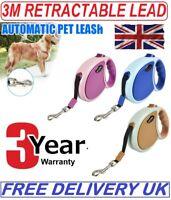 Neon Reflective Retractable Dog Lead Extending Hi-Viz Pet Leash Extendable 3m UK