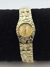 "Women's 14K Yellow Gold Nugget Style 7.5"" Wrist Watch Round Geneve with diamond"
