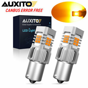 AUXITO PAIR 1156 7506 BA15S LED Amber Yellow Turn Signal CANBUS Light Bulb AP4