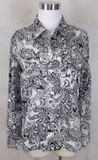 Jones New York Shirt Top Small Black White Paisley