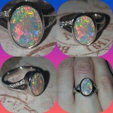 Australian Lightning Ridge Solid Natural Semi Black Opal Palladium Diamond Ring