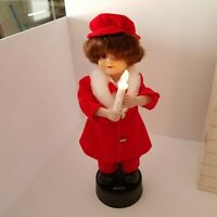 Vtg 1990 Telco Mello Tone Christmas Carol Girl Figurine, Lights, Motion, Sound