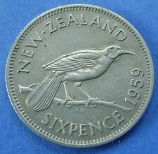 New Zealand - Nieuw Zeeland 6 Pence Sixpence 1959 - KM# 26.2