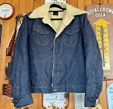 MENS VINTAGE 70'S SEARS ROEBUCKS BUTTON UP DENIM JEAN SHERPA JACKET SIZE 44-T