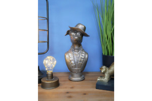 Dog ornament Bust Wearing Hat and Uniform