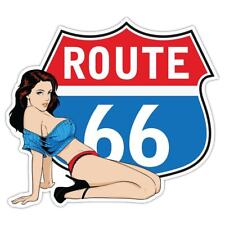 ROUTE 66 Pin Up Cassetta Degli Attrezzi Adesivo 250x224mm Van VDub Hotrod Retrò Vintage Decalcomania
