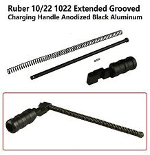 Ruger 1022 10-22 Extended Grooved Round Charging Handle Black Anodized Aluminum